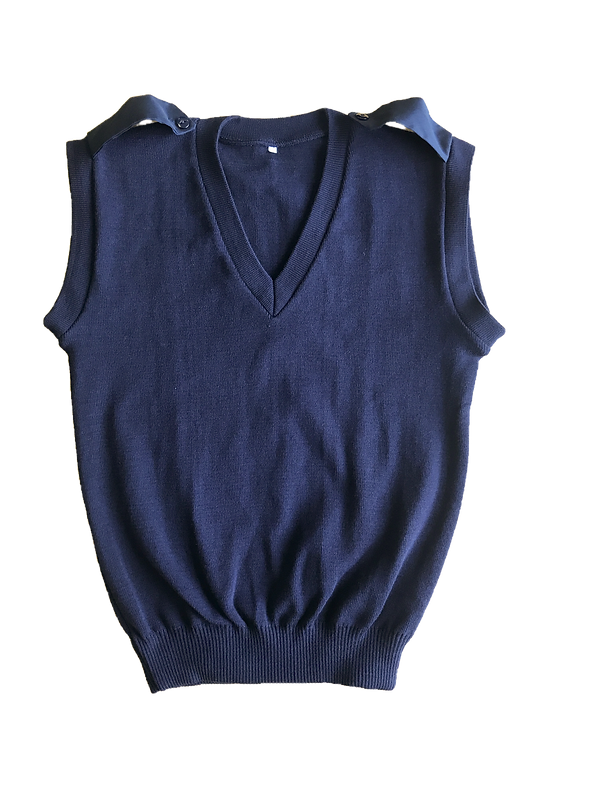 Navy Sleeveless Double Rib Pullover with Epaulettes