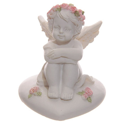 Cherub with Pink Roses Sitting on a Heart Ornament