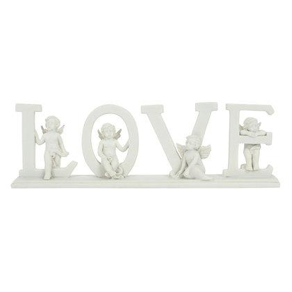 Cherub Standing 'Love' Sign Ornament