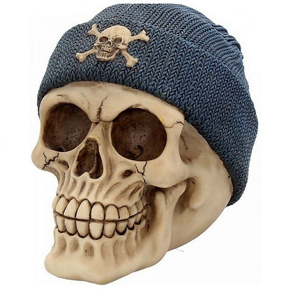 Beanie Blue Skull Head Ornament 17cm