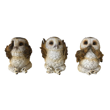 Three Wise Brown Owl Ornaments 7.5cm