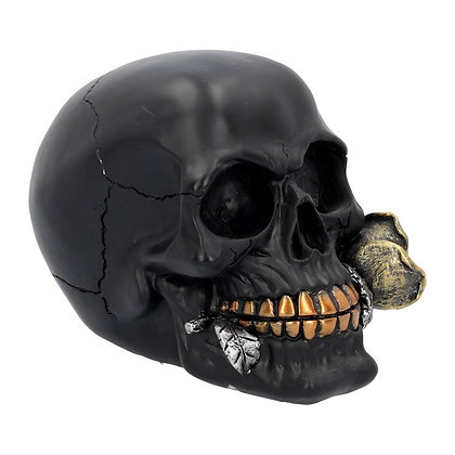 Black Rose From The Dead Skull Head Ornament 15cm
