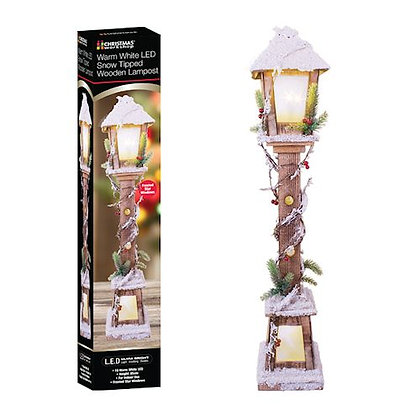 Christmas LED Wooden Lamp Post 85cm