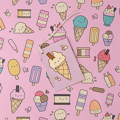 Ice Creams and Lollies Quality Wrapping Paper and Gift Tag