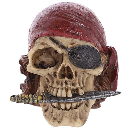 Pirate Skull Ornament with Knife, Scarf and Eye Patch