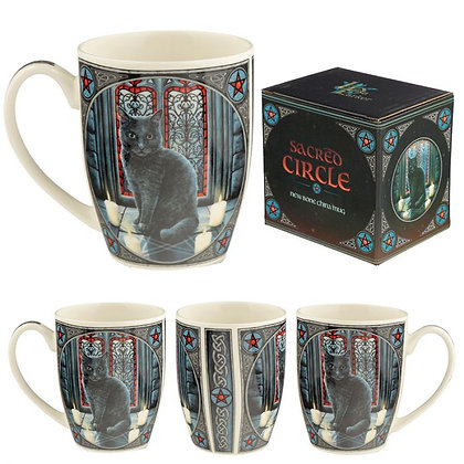 Sacred Circle Cat Bone China Mug (Lisa Parker)