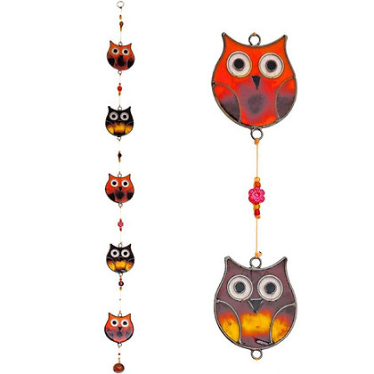 String of 5 Owls Sun Catcher