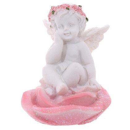 Cherub Sat in Pink Rose Head Ornament