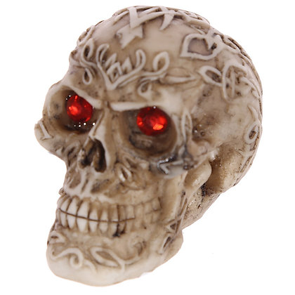 Red Gem Eyed Skull Head Ornament