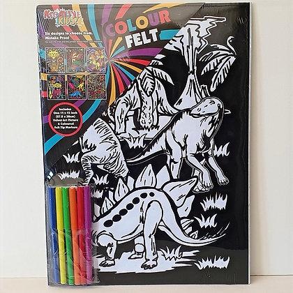Velvet Art Dinosaur Picture and Pens