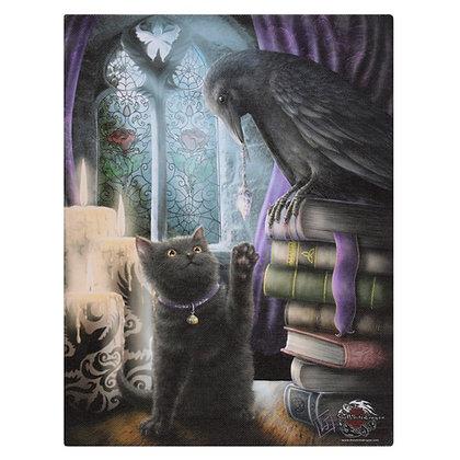 Familiarity Cat and Raven - Linda Jones Canvas