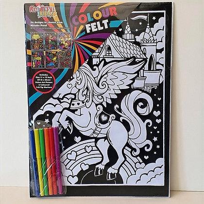 Velvet Art Unicorn Picture and Pens