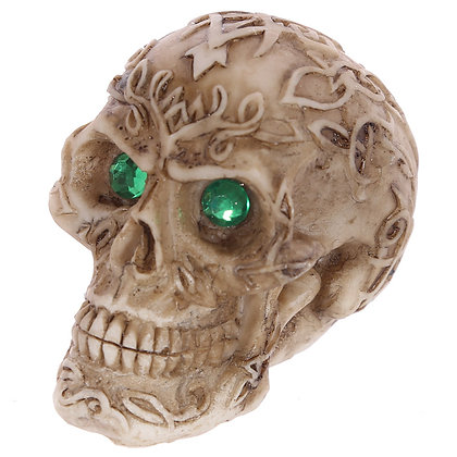 Green Gem Eyed Skull Head Ornament