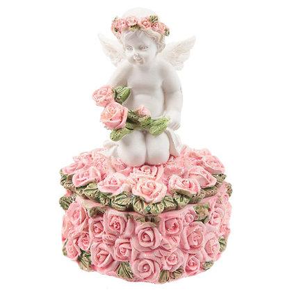 Rosebud Heart Cherub Trinket Box (Right Handed)