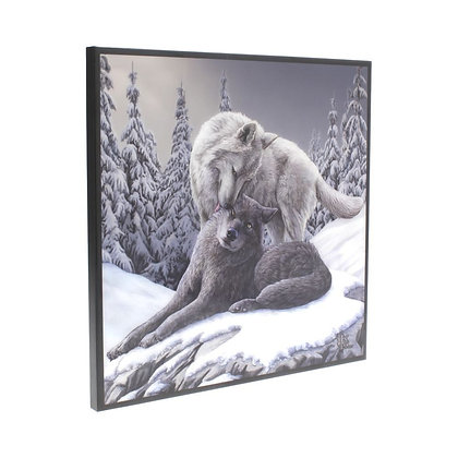 Snow Kisses Wolf Crystal Clear 25cm Picture - Lisa Parker