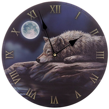 Quiet Reflection Wolf - Lisa Parker Clock