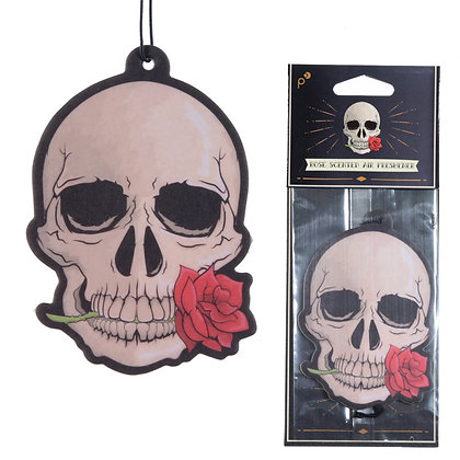 Gothic Skull with Rose Air Freshener