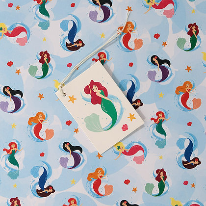 Mermaid Quality Wrapping Paper and Gift Tag