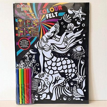 Velvet Art Mermaid Picture and Pens