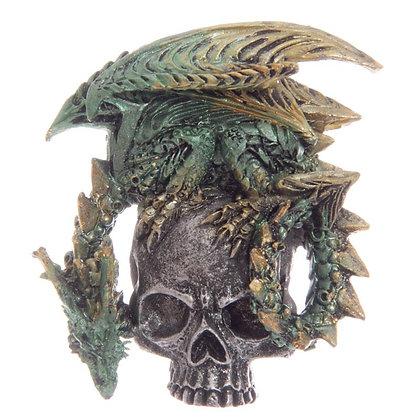 Green Dark Legends Silver Skull Dragon Magnet