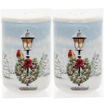 Christmas Robin on Lamp Post Salt & Pepper Set