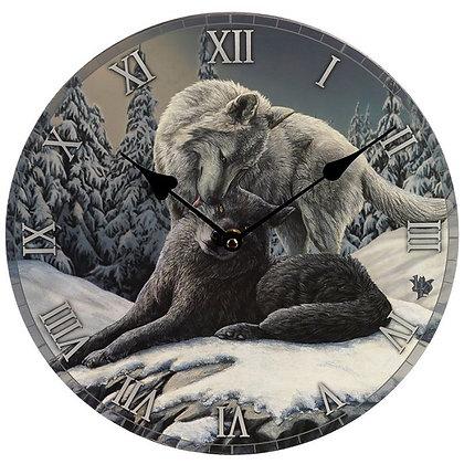 Snow Kisses Wolf - Lisa Parker Clock