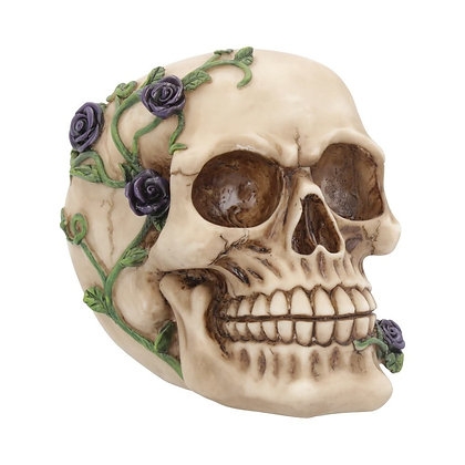 Purple Rose from Beyond Skull Head Ornament - 15cm