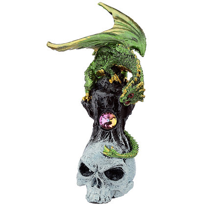 Gemstone Skull Dragon Figure