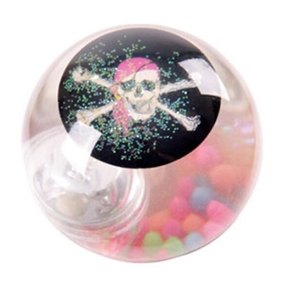 Pirate Skull and Cross Bones Flashing Bouncy Ball 5.5cm