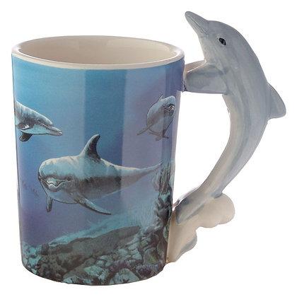 Dolphin Shaped Handle Mug