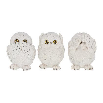 Three Wise Owl Ornaments 8cm