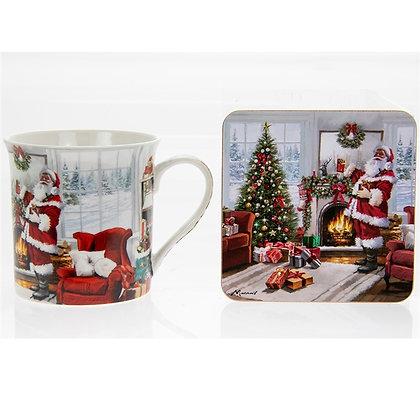 Santa with Christmas Tree - Mug and Coaster Set