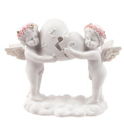 Rosebud Love Heart Puzzle Cherub Ornament