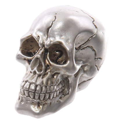 Gruesome Small Skull Head Ornament (Silver)