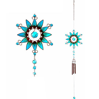 Blue and Green SunFlower Windchime