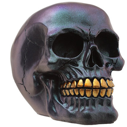 Dark Metallic and Gold Skull Ornament