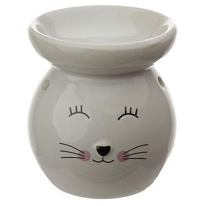 White Ceramic Cat Oil Burner Ornament