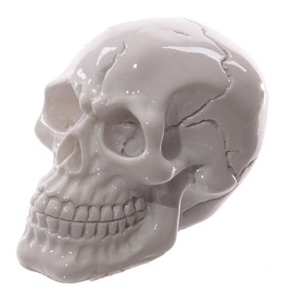 Gruesome Small Skull Head Ornament (White)