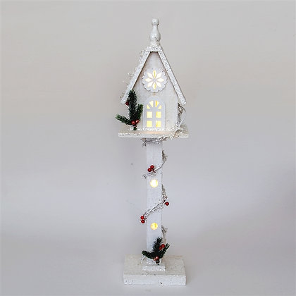 White Wooden Christmas Lamp Post 70cm