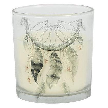 Glass Grey Dreamcatcher Candle - 8cm