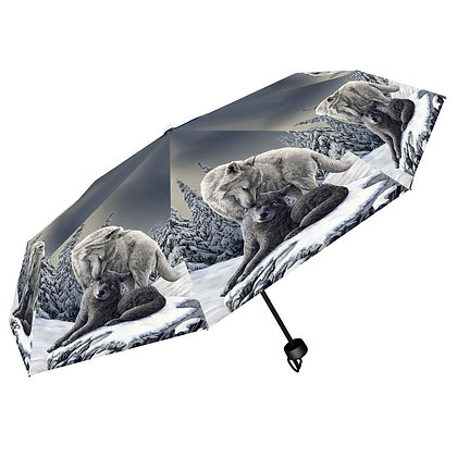 Snow Kisses Wolf - Lisa Parker Umbrella