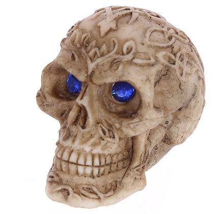 Blue Gem Eyed Skull Head Ornament