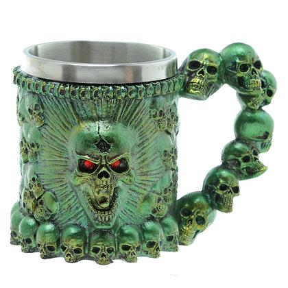 Green Screaming Skull Tankard