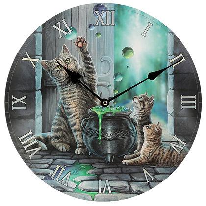 Hubble Bubble Cat and Kitten - Lisa Parker Clock