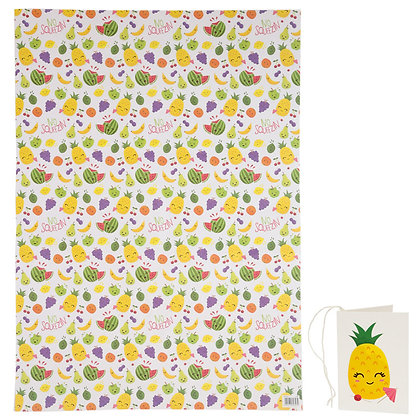 Fruit and Faces Quality Wrapping Paper and Gift Tag
