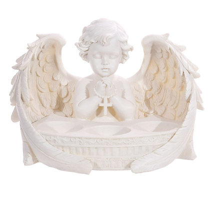 White Cherub 3 Tea Light Holder Figurine