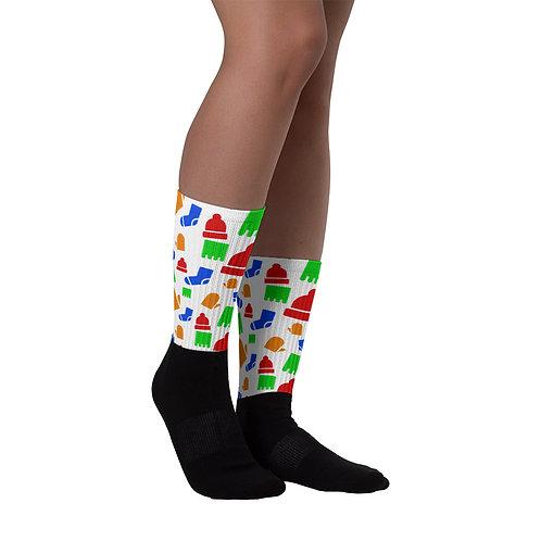 KtR Patterned Black Foot Socks