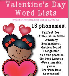 Valentine's Day Word Lists