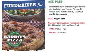 Barro's Pizza Fundraiser Aug. 25th