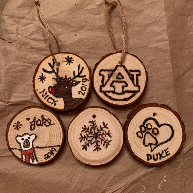 Wood Burnning Ornaments